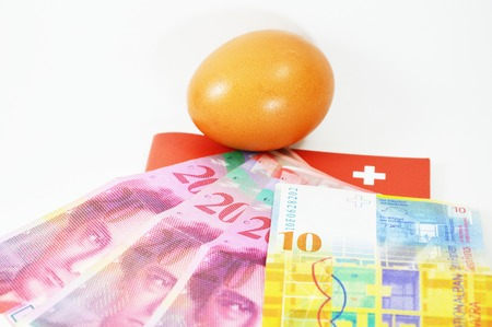 egg and Swistzerland  banknote photo