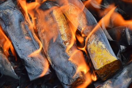 the next life: gold paper burning to ancestor Stock Photo