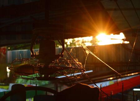 ceiling fan: old ceiling fan on sunset