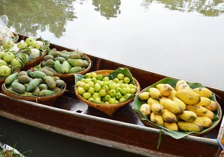 wooden boat: Thai fruit on wooden boat