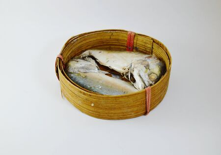 fishery products: mackerel on circle bamboo container Stock Photo