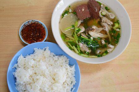 entrails: boiled pork blood and entrails in soup