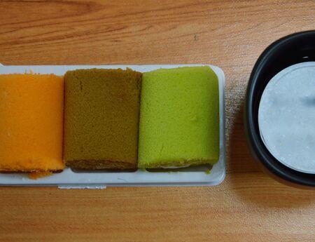 fancy cake: fancy cake roll and black coffee