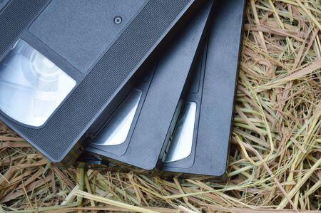 grabadora: casete grabador de v�deo en la paja
