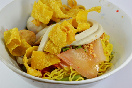 fish ball: noodles with fish ball and red sauce