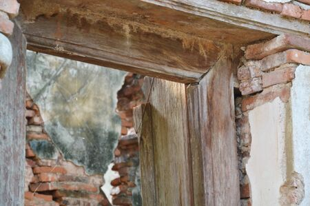 buddhist temple: window frame in ancient Buddhist temple