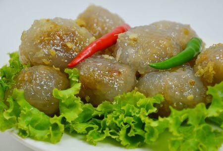 filling: tapioca balls with pork filling