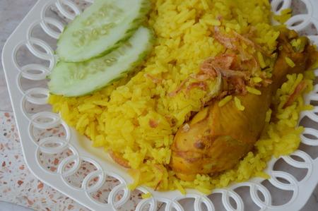 chutney: chicken Biryani with green chutney