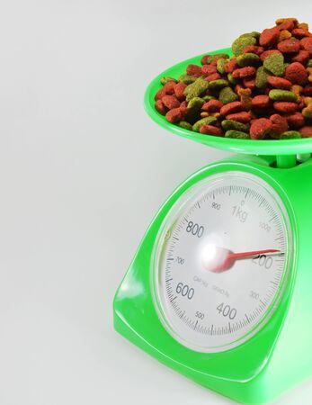weighting: dog food on weighting scale