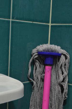 mop: mop in the bathroom