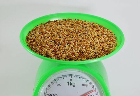 weighting: bird food on weighting scale