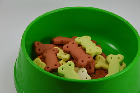 dog biscuit: dog biscuit in green bowl Stock Photo
