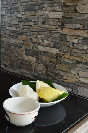 coconut milk: durian and sticky rice with coconut milk