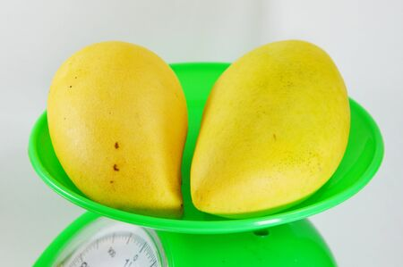 weighting: mango ripen on green weighting scale
