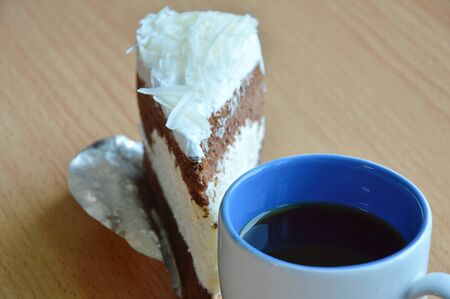 white chocolate cake and coffee