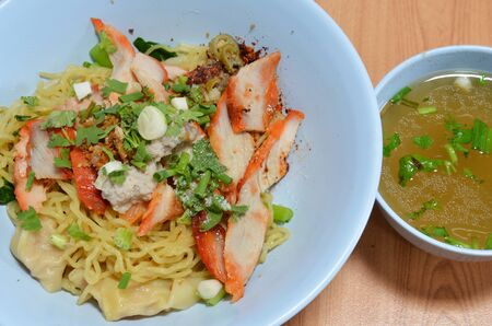 chinese noodle: Chinese noodle topping barbecue pork and soup