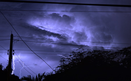monsoon clouds: thunder and lightning on the night Stock Photo