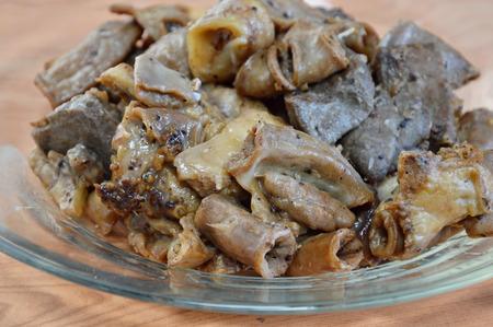 entrails: fried pork entrails with garlic