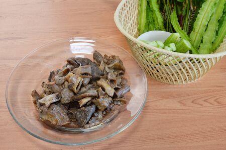 entrails: fried pork entrails with garlic and vegetable