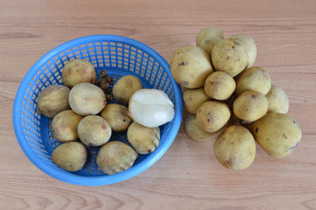 digest: Langsat Asian fruit on basket