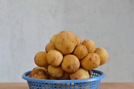 local supply: Langsat Asean fruit on basket Stock Photo