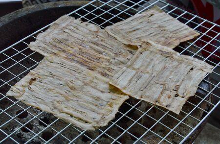 gridiron: grilled flat banana Cambodian food on gridiron Stock Photo