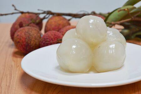 lichi: lychee Asian fruit on dish
