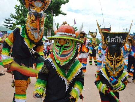 ghost mask: Loei Thailand June 27, 2015 : Phi Ta Khon is a type of masked procession celebrated Buddhist merit-making holiday Editorial