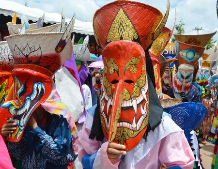 loei: Loei Thailand June 27, 2015 : Phi Ta Khon is a type of masked procession celebrated Buddhist merit-making holiday Editorial