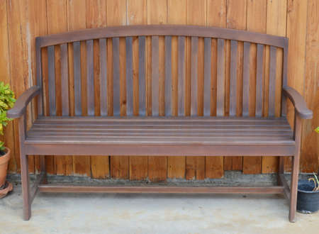 wood bench: wood bench on the wood wall