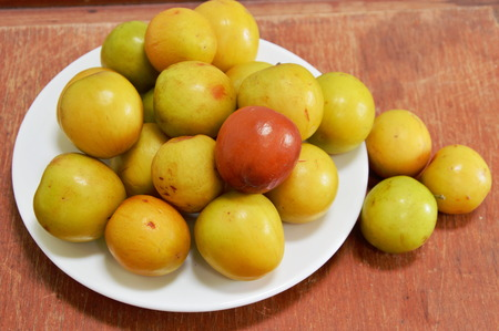 ripen: ripen red Chinese jujube on the dish Stock Photo