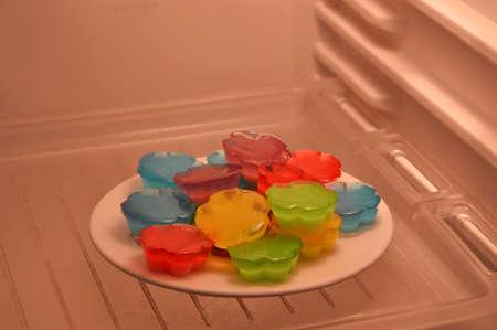 refrigerator: fruits jelly in refrigerator