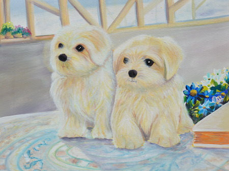 oil painting: white puppy oil painting on canvas Stock Photo