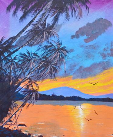 kokosnoot boom op het strand olieverf op doek Stockfoto