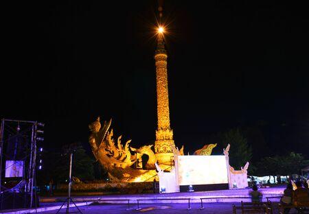 garuda: Ubonratchathanee Thailand July 29, 2015 : Garuda sculpture on big candle used in raining season