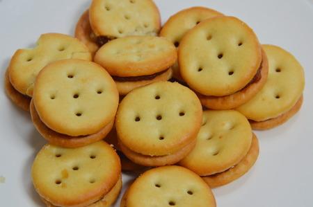 filling: pineapple filling cracker on dish Stock Photo