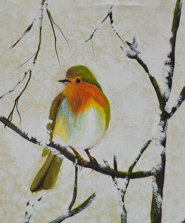 oil painting: bird on the branch oil painting on canvas Stock Photo