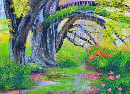 banyan tree: big banyan tree in the garden oil painting on canvas Stock Photo