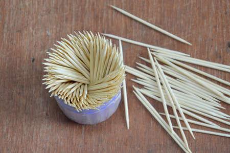 toothpick: toothpick on wood table Stock Photo
