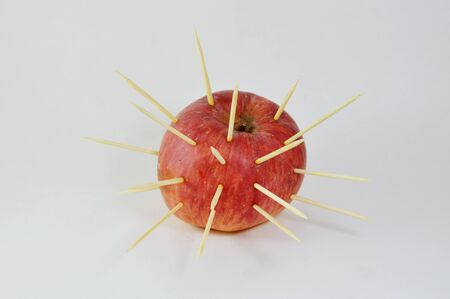 stab: toothpicks stab on apple