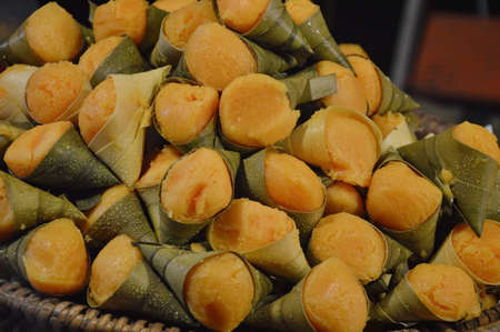 toddy palm: steamed toddy palm on bamboo tray in the market Stock Photo