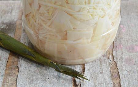 souse: pickled slice bamboo shoot in plastic bottle