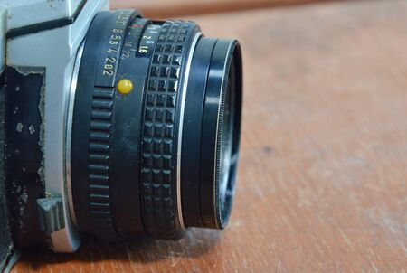 reflect: manual lens of single lens reflect camera Stock Photo