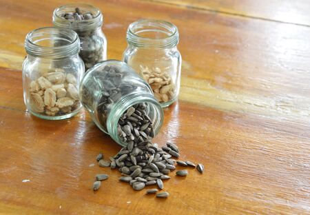 viable: sunflower seed on the wooden table