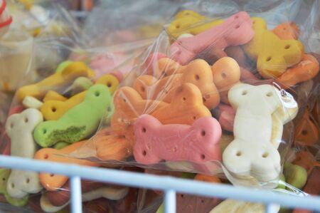 dog biscuit: dog biscuit in pet shop shelf