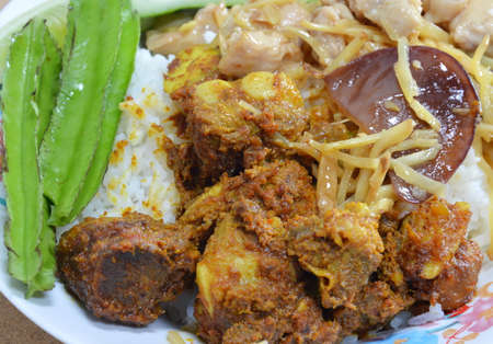 pork rib: spicy pork rib and stir-fried chicken with ginger on rice Archivio Fotografico