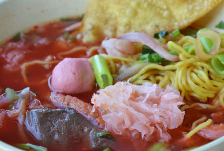 chinese noodle: Chinese noodle in red soup Stock Photo