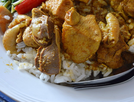 gizzard: spicy boiled curry chicken on rice