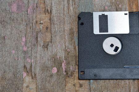 floppy disk: floppy disk on wooden board