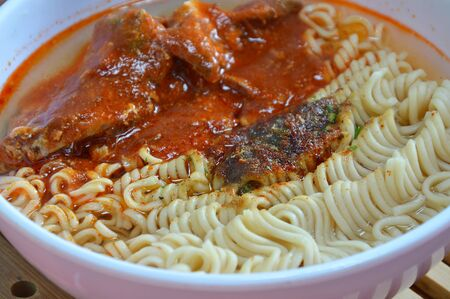 monosodium glutamate: instant noodle with mackerel in ketchup can